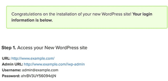 wordpress admin details