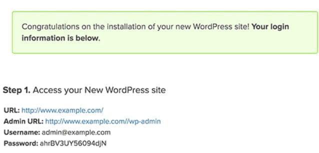 wordpress admin details