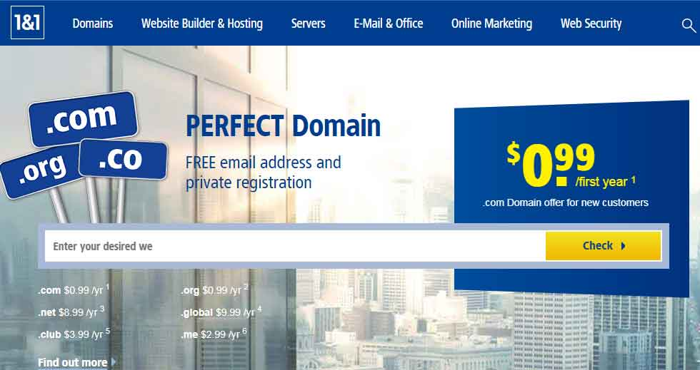 1and1 - Really Cheap domain with free whois guard and web hosting
