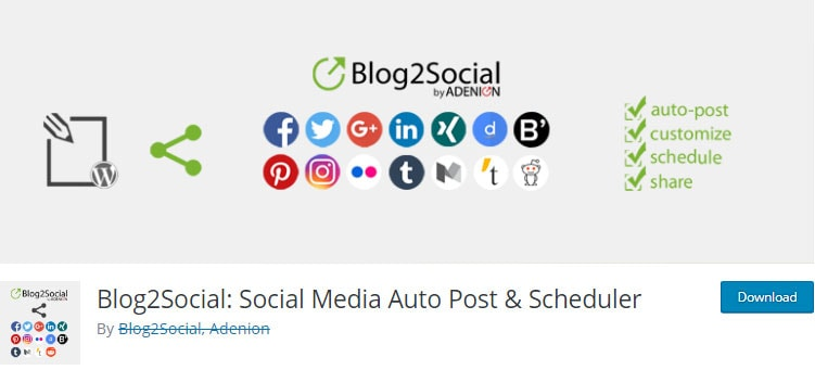 Blog2Social - social media auto post and scheduler