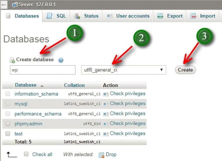 create database on XAMPP
