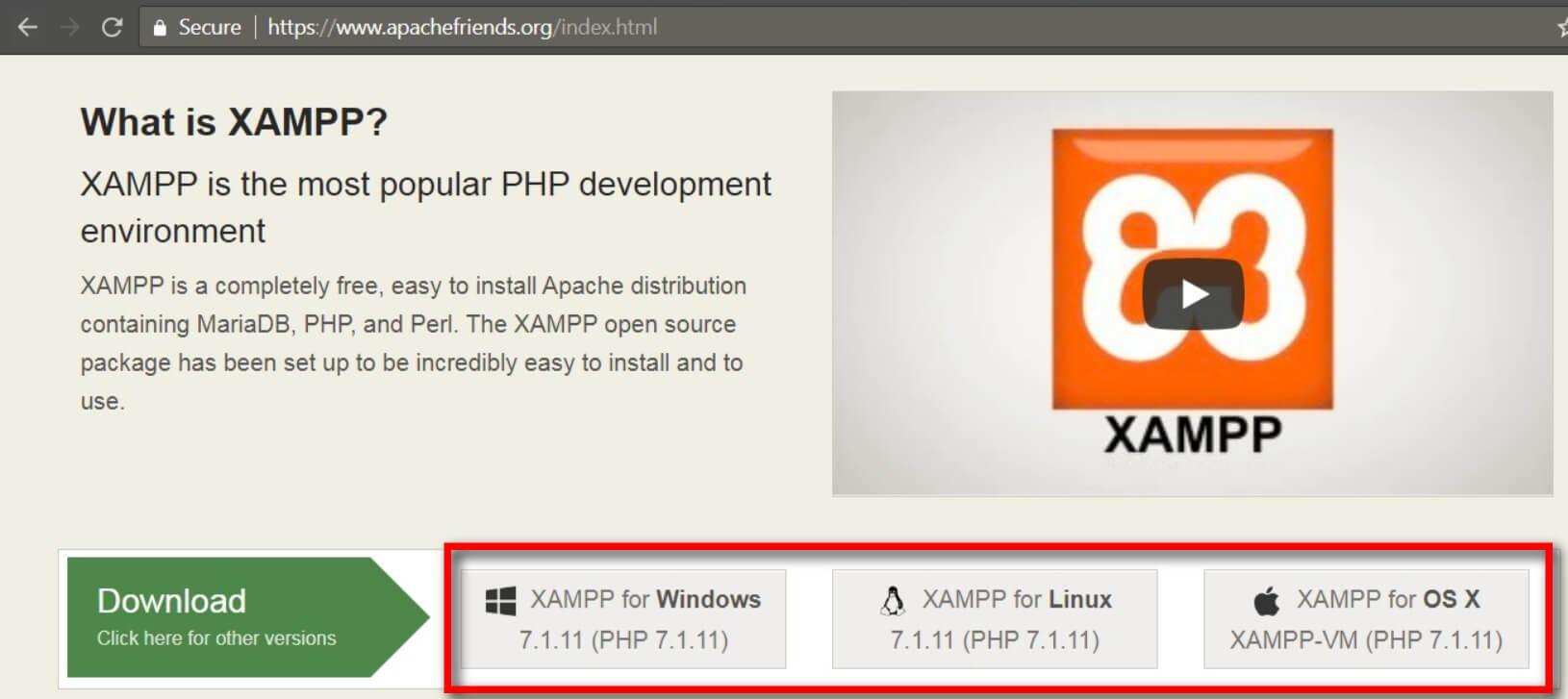 download xampp from apachefriends