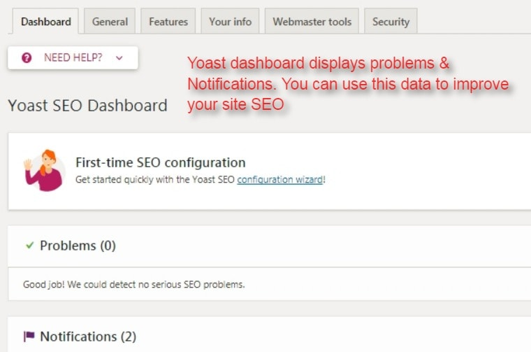 yoast SEO dashboard problems and notifications