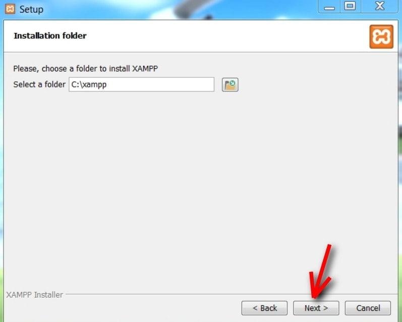choose the xampp folder
