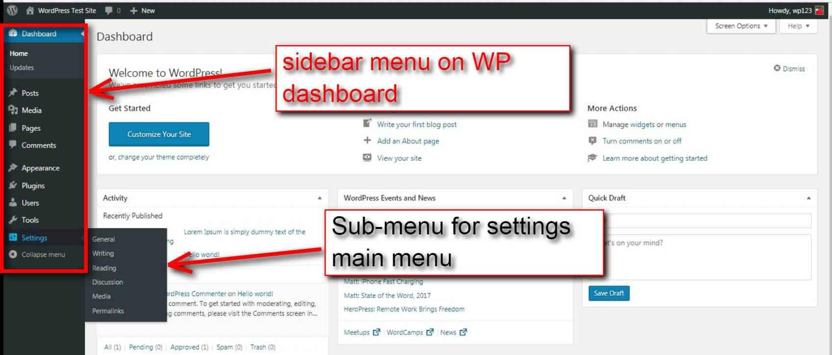 wordpress admin dashboard menu