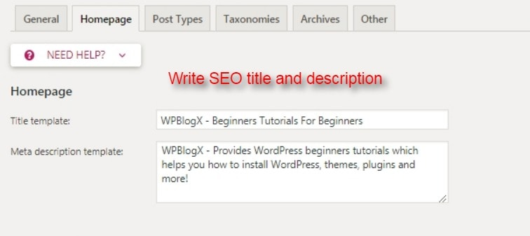 yoast seo homepage SEO title and description