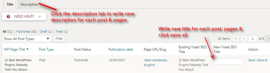 yoast SEO title and description bulk editor
