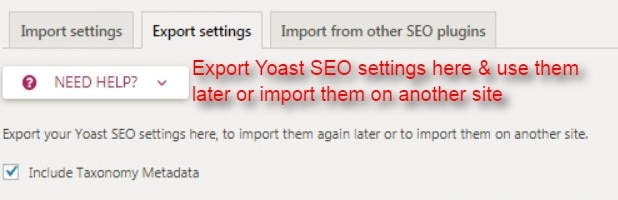 yoast seo export SEO settings here