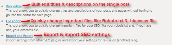 yoast seo tools: Bulk editor, File editor and import & export