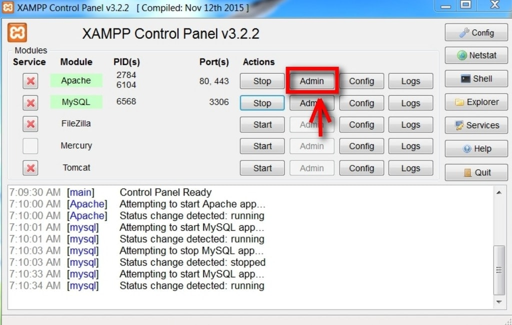 xampp start or stop service