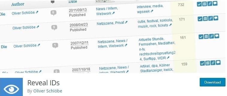 reveal ids WordPress plugin