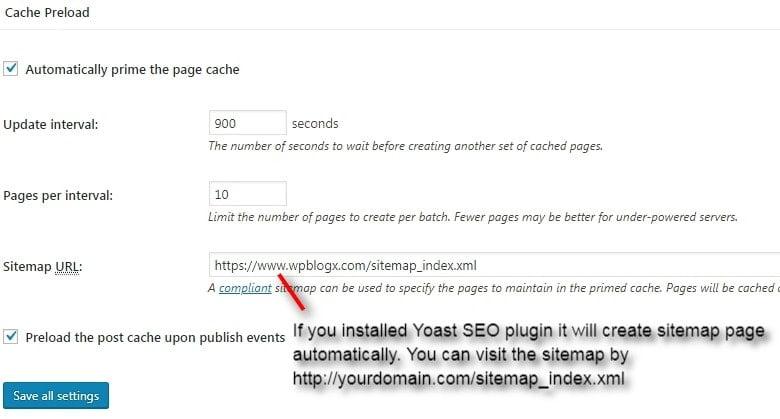 w3tc settings page cache preload