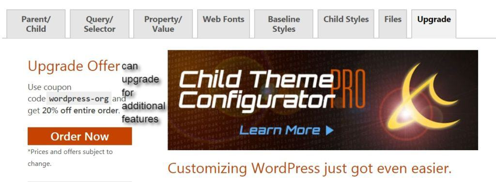 child theme configurator upgrade