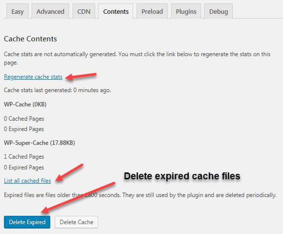 wp super cache content tab