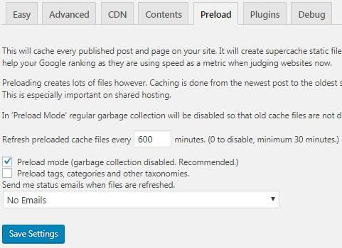 configure wp super cache preload cache