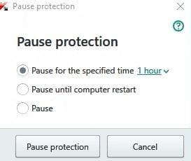 antivirus stop or pause
