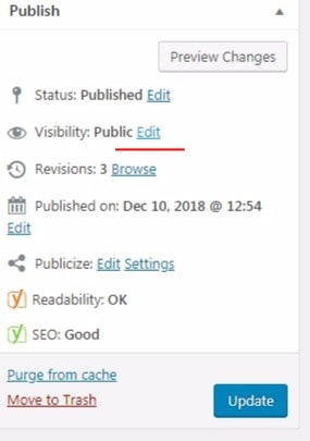 edit visibility in wordpress post or page