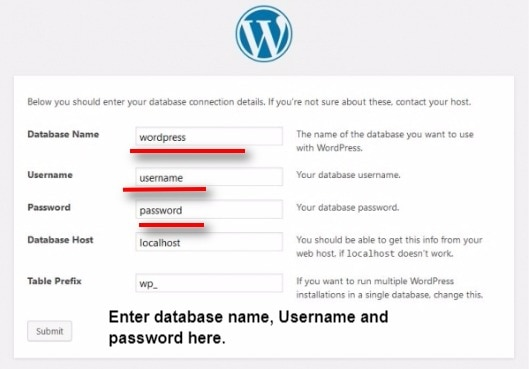 Enter WordPress database name, username and password