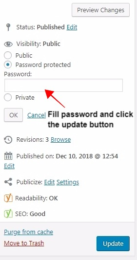 fill password and update