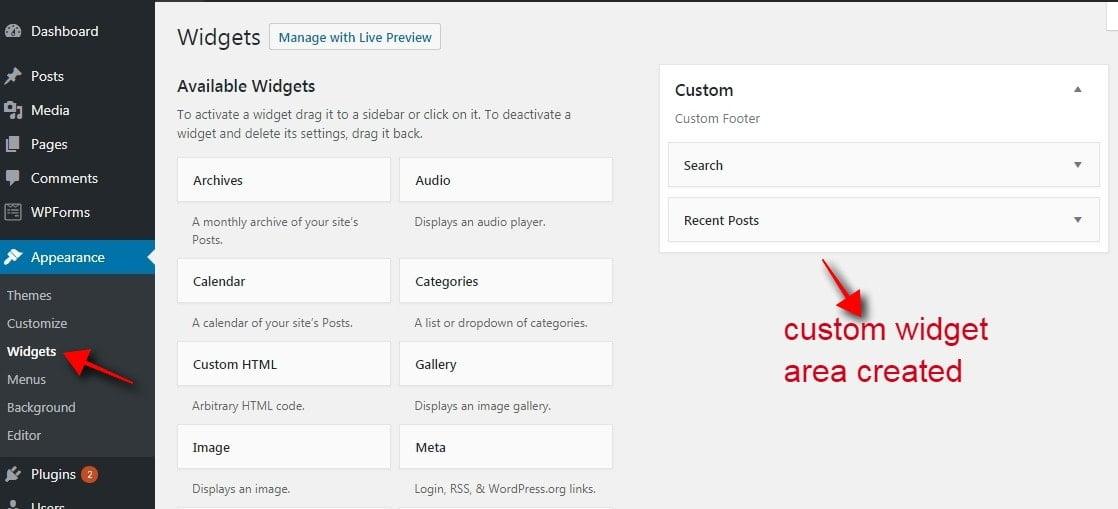 newly created sidebar in wordpress