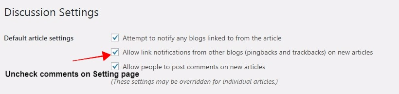 disable comments on wordpress by using settings page