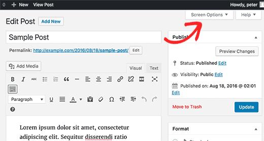 select wordpress screen option