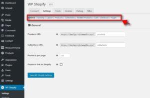 wp shopify Settings Tab