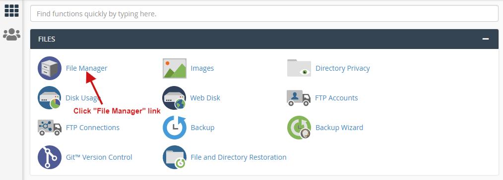 click file manager link
