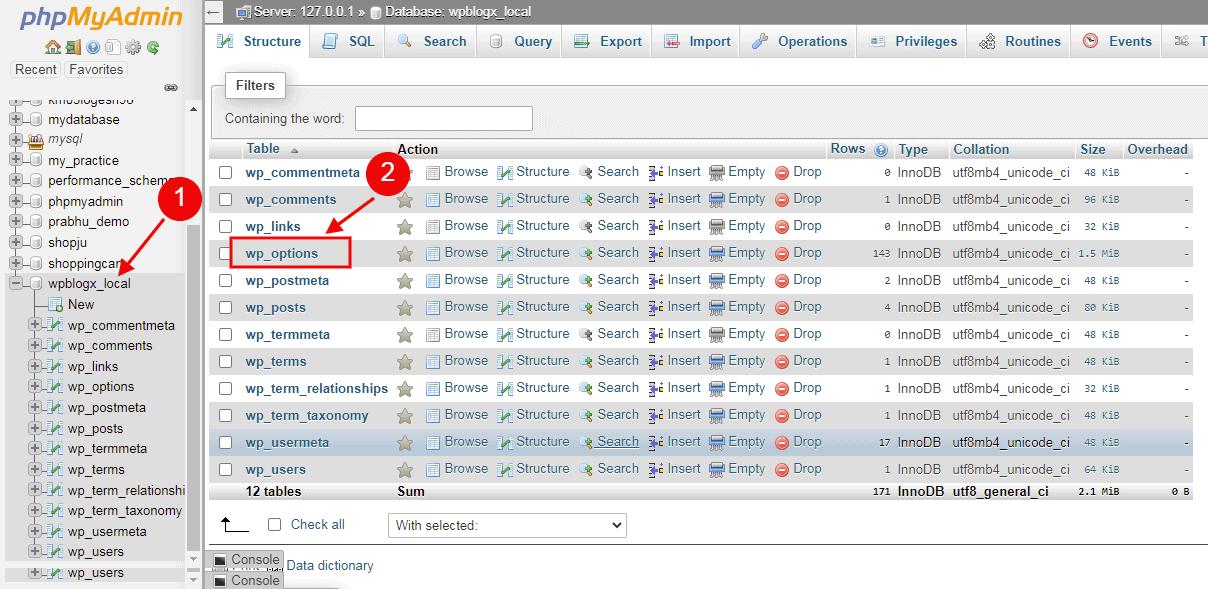 database wp_options
