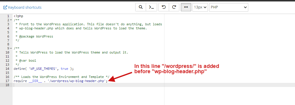 in index.php file wordpress is added