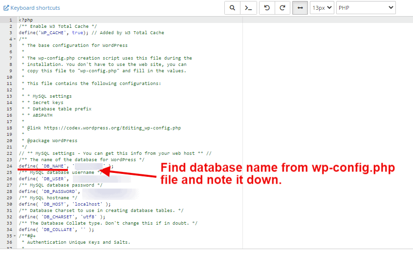 find database name from wp-config.php file