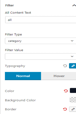All Filter Text