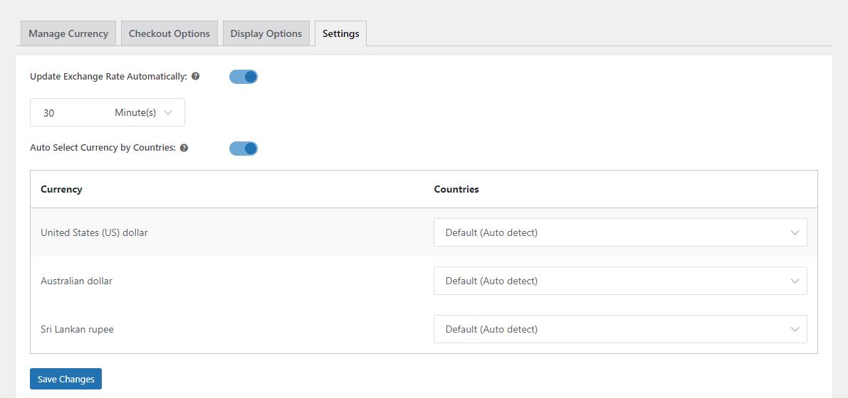 YayCurrency settings