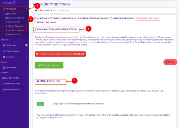 HostArmada - Security settings